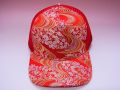 【日本のおみやげ】◆和風キャップ【金襴流水桜/赤】メッシュタイプ