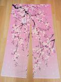 【日本のおみやげ】日本の創作のれん【しだれ桜】【ロング丈】※上部にに棒を通す輪があります。