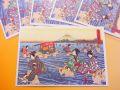 【日本のおみやげ】ポストカード【大井川往来之図/木版レプリカ】(バラ単品)透明OPP袋入り