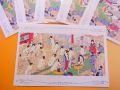 【日本のおみやげ】ポストカード【競細腰雪柳風呂/木版レプリカ】(バラ単品)透明OPP袋入り