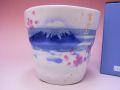 【日本のお土産】◆刷毛色絵桜富士ロックカップ【日本美陶】