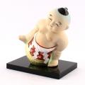 【日本のおみやげ】◆相撲足上げ小【台座付】人形