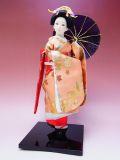 【日本のおみやげ】◆日本人形【ピンク着物・傘】