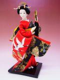 【日本のおみやげ】◆日本人形【鶴着物・扇子】