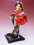 【日本のおみやげ】◆日本人形【扇子/赤黒着物】