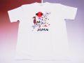 【ホームステイおみやげ】【日本土産】(漢字・和柄)◆和風Tシャツ【地図舞妓】子供用(80cm〜150cm)白地