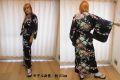 【日本のおみやげ】◆外国人向け着物【梅牡丹】女性用(フリーサイズ)