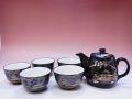 【日本のおみやげ】 ◆黒花名所【茶器6点】茶器セット