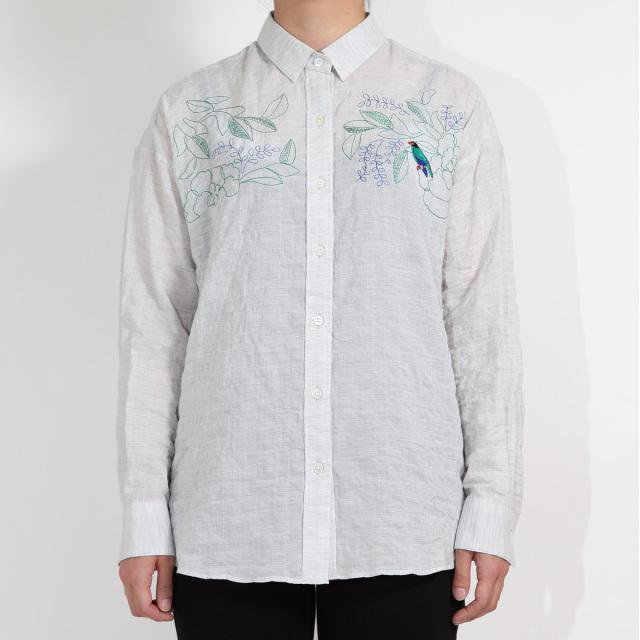KY17-704/ふんわりシャツ[播州織]/ぶっぽうそう