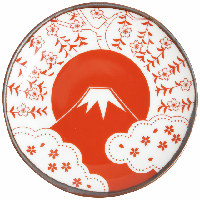 KY86-47/赤絵縁起小皿/富士に桜