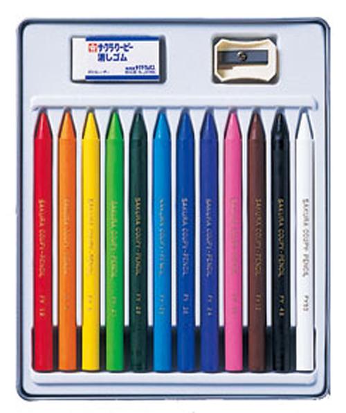 【学童用品 色鉛筆】 サクラ クーピーペンシル(12色缶入り)