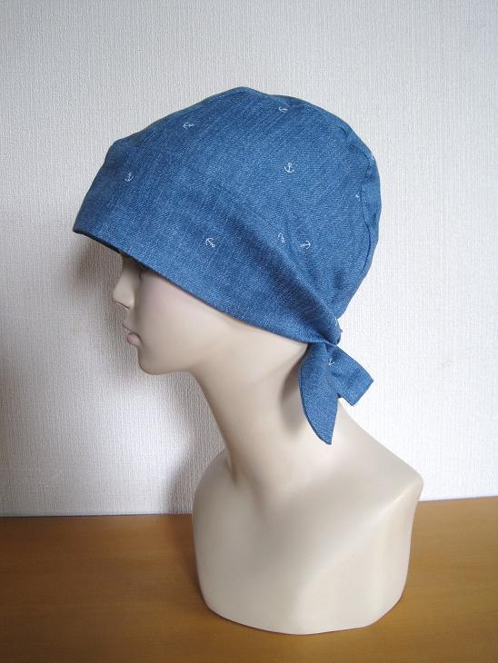 バンダナ帽子,ライトブルー,いかり柄,抗がん剤,脱毛