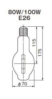 東芝ライテック  水銀灯 一般形  H100  100形 透明形