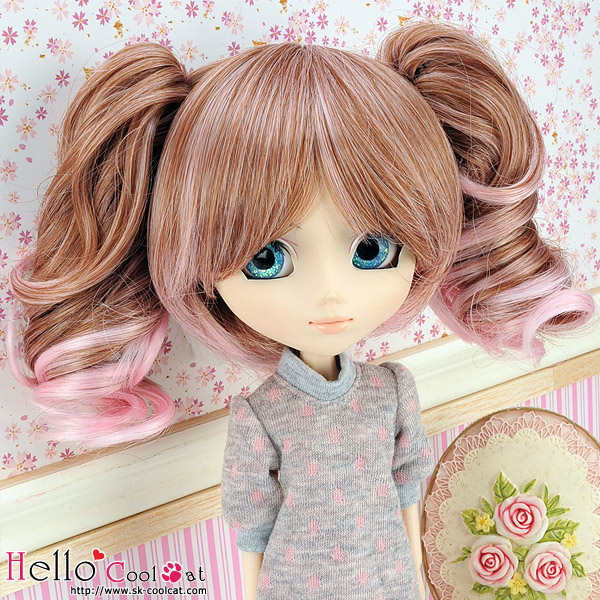 "【HT-GL2226】8.0~9.5"" HP Wigs w/Hair Pin # Brown+Pink10253"