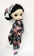 プーリップ/百合ヌード+着物ドレスセット黒金魚柄