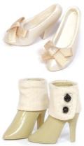 Shoes Selectionハイヒール(ホワイト)×ショートブーツ(ベージュ)