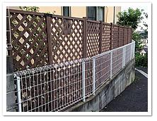 お庭周囲への人工木ラティスフェンス設置例