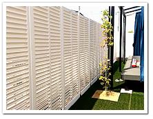 お庭周囲への人工木ホワイトルーバーラティス設置例