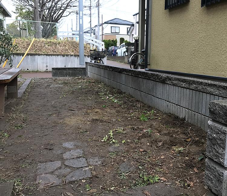 樹木とブロックの撤去後