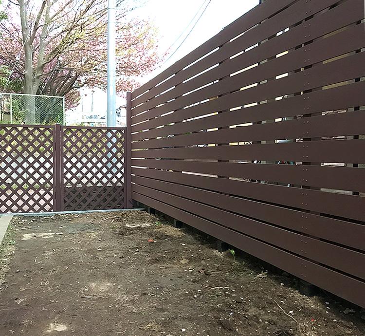 人工木フェンス&ラティス設置完成