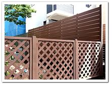 お庭を装飾した人工木ボーダーとラティスフェンス設置例