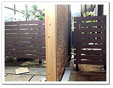 お庭への人工木ボーダーフェンス&門扉設置例