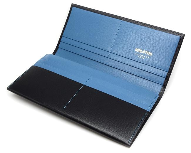 ヘリテージ 長財布 「ゴールドファイル」 GP23022 ネイビー 内作り