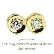 pinacoteca 498 Solitaire Diamond Flower Stud Earrings,��γ������ ���� �ԥ��� ���祳α�� �ե� 0.05ct,K18 �ԥʥ��ơ���
