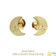 pinacoteca 636 Crescent Diamond Stud Earrings K18,�ԥʥ��ơ��� �� �ࡼ�� ��������� ���� �����å� �ԥ��� 18��