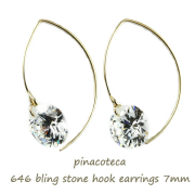 �ԥʥ��ơ��� 646 �֥�� ���ȡ��� ���塼�ӥå����륳�˥� �եå� �ԥ��� 18��,pinacoteca Bling Stone Hook Earrings K18