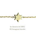 レデッサンドゥデュー 401 六芒星 ろくぼうせい 華奢ブレスレット18金,les desseins de DIEU Hexagram Bracelet K18