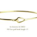 ��ǥå���ɥ��ǥ塼 910 ������� �եå� �Х� 1.5�ߥ��� 18��,les desseins de DIEU Fine Gold Bangle K18