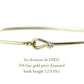 ��ǥå���ɥ��ǥ塼 914  ������� ��γ��������� �եå� �Х� 18��,les desseins de DIEU Fine Gold Diamond Hook Bangle K18
