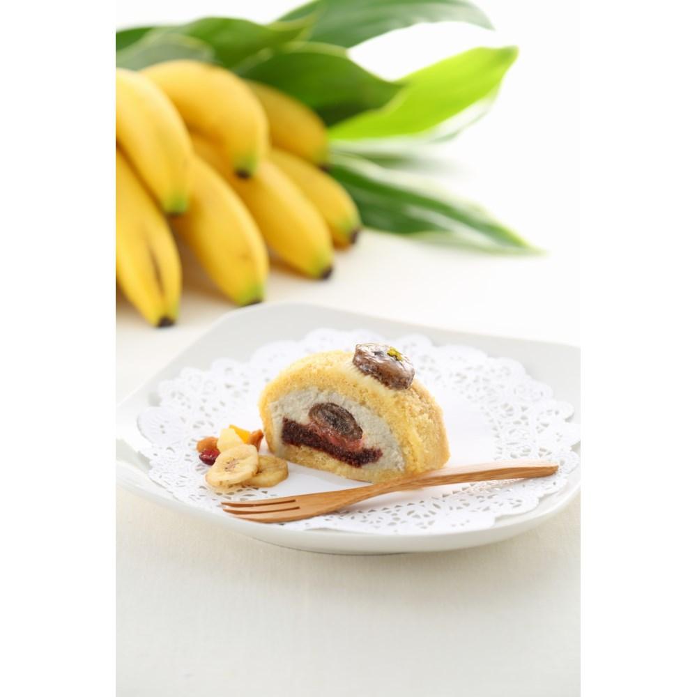 【カムカム倶楽部特選品】ビオクラスタイルのマクロビオティックケーキ 焼きバナナとリュバーブのロール(1/6カットあり)