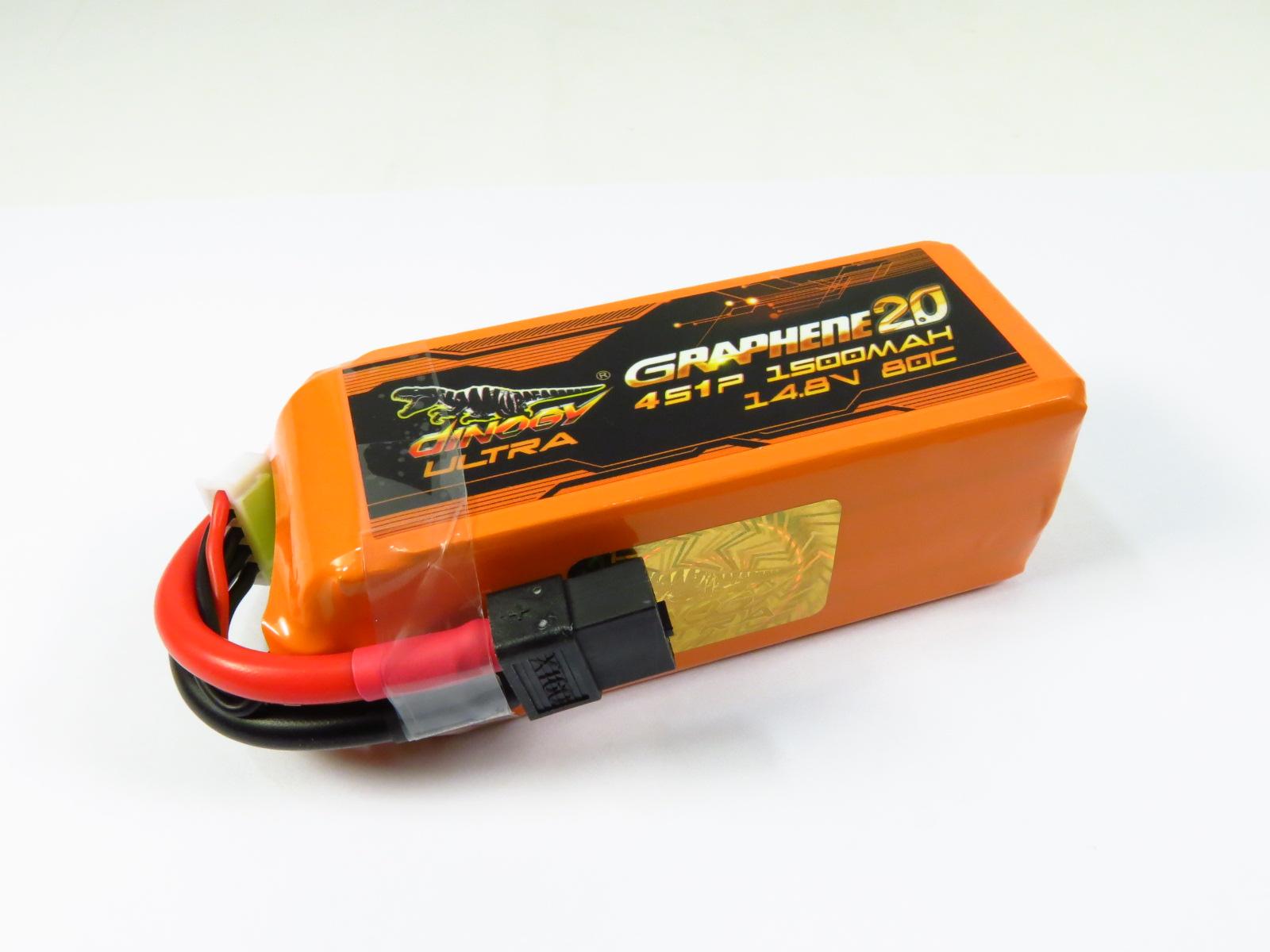 DINOGY ダイノジー ULTRA Graphene 2.0 リポバッテリー 14.8V1500mAh 80C (LC-4S1500XTU)FPVレーサーに最適