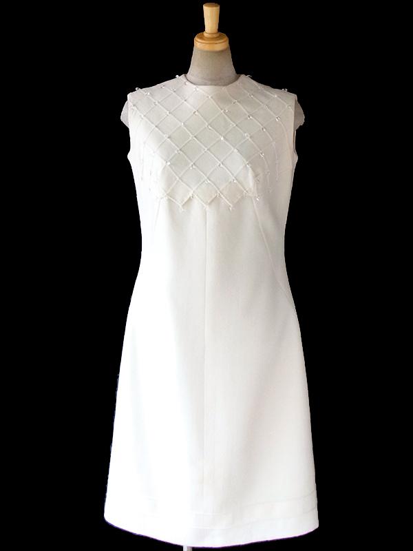 ヨーロッパ古着 フランス買い付け 60年代製 アイボリー X ラインストーン飾り アーガイル型凹凸  ウール ドレス 16FC516