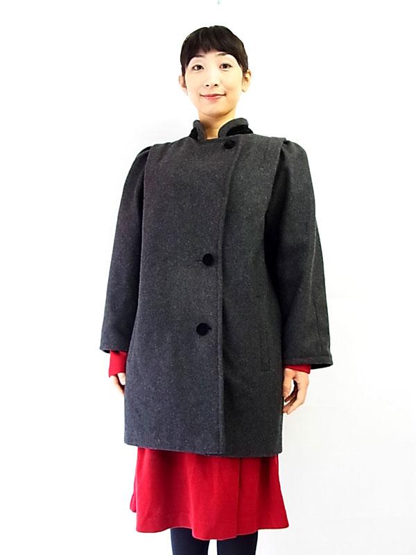 【ヨーロッパ古着】ロンドン買付 イギリス製 グレイ ウールコート【美品】