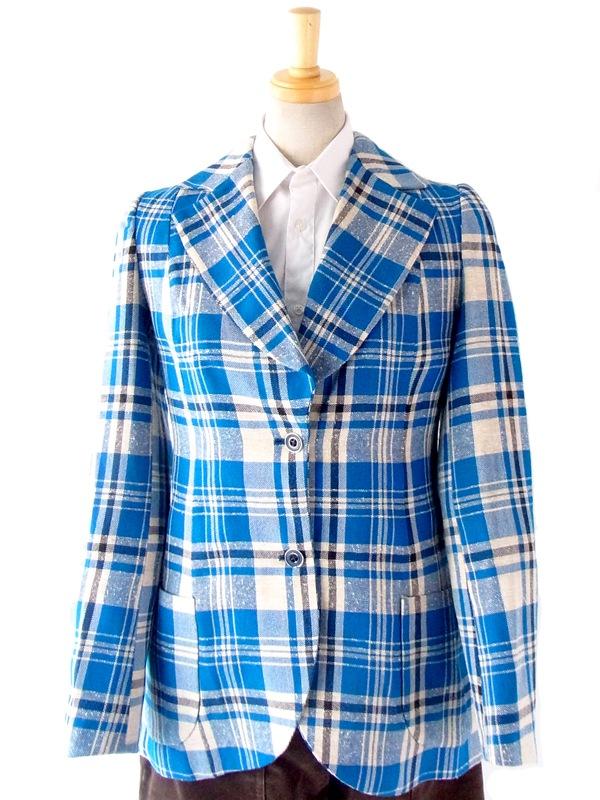 【送料無料】60年代 フランス製 リネン生地 ブルーxホワイト チェック柄 ジャケット : 11FC76【ヨーロッパ古着】