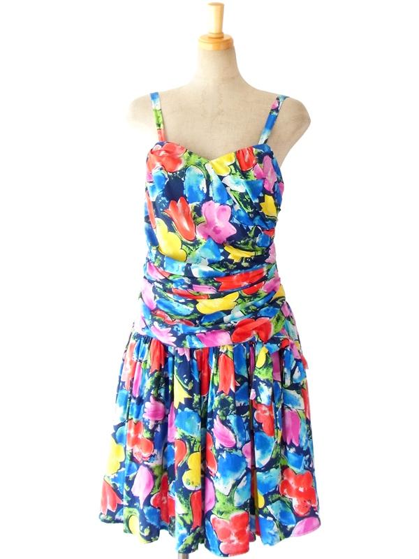 ヨーロッパ古着 ロンドン買付 水彩のようにカラフルな花柄 たっぷりとしたリボン付き ヴィンテージ ストラップワンピース 12BS9