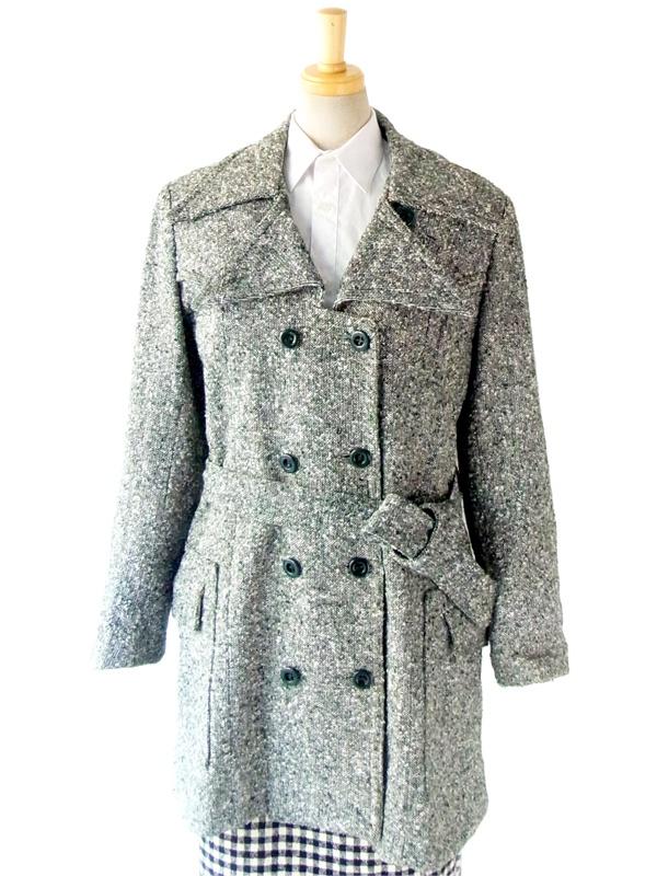 【送料無料】フランス買い付け 60年代製 グレイ X グリーン ショート丈 ヴィンテージ ツイード コート : 12FC129【ヨーロッパ古着】