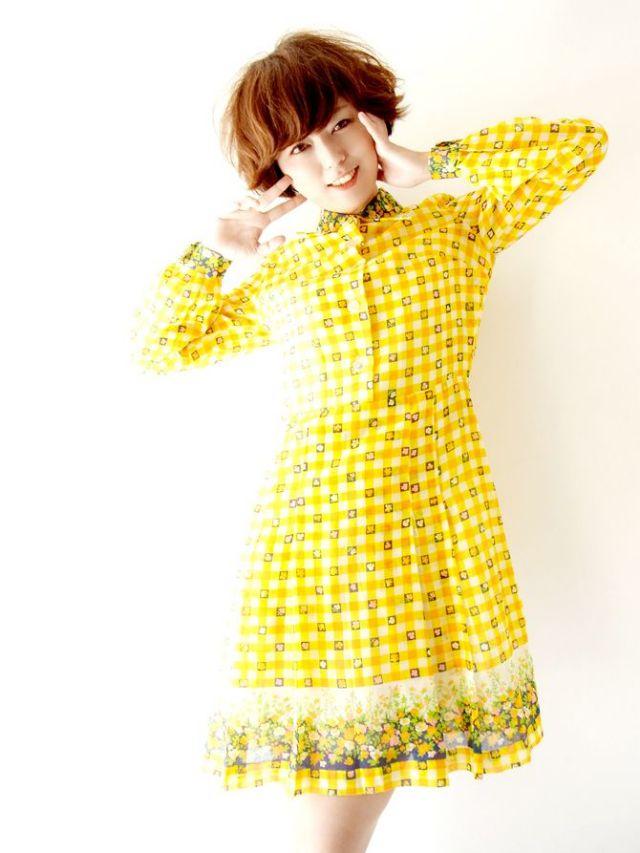 ロンドン買い付け 60年代製 黄・白 ブロックチェック・花柄  ヴィンテージ ワンピース : 13BS105