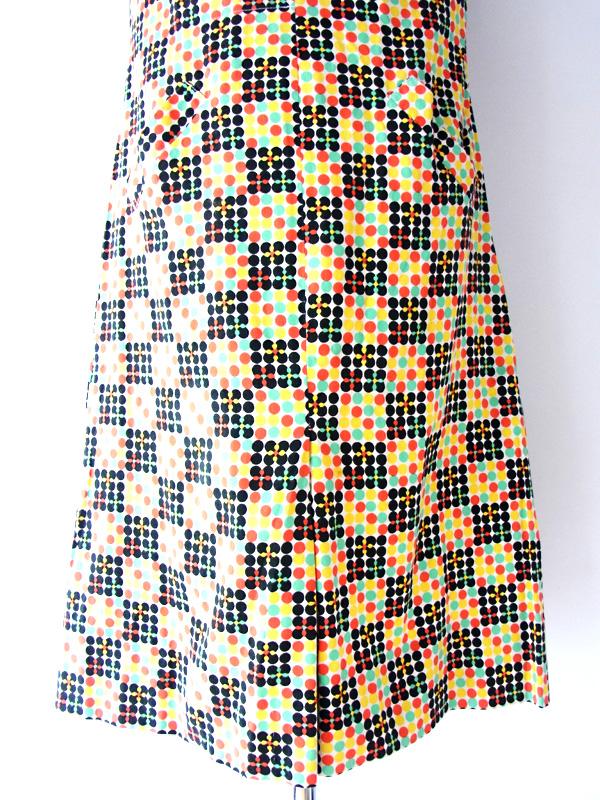 【ヨーロッパ古着】フランス買い付け マルチカラー 水玉プリント ヴィンテージ ワンピース【送料無料】