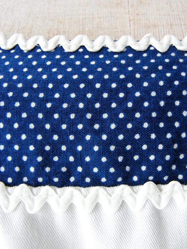 【ヨーロッパ古着】フランス買い付け ホワイトXブルー 水玉プリント ヴィンテージ サマーワンピース : 13FC43【送料無料】