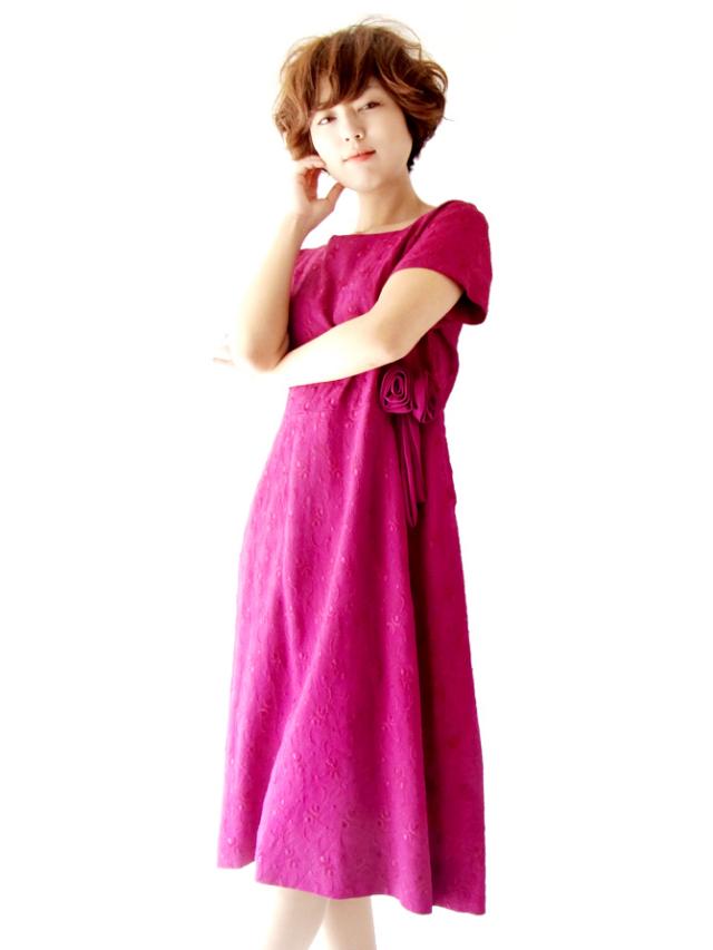 【送料無料】フランス買い付け バーガンディー X 総刺繍・薔薇コサージュ ヴィンテージ ドレス : 13FC401【ヨーロッパ古着】