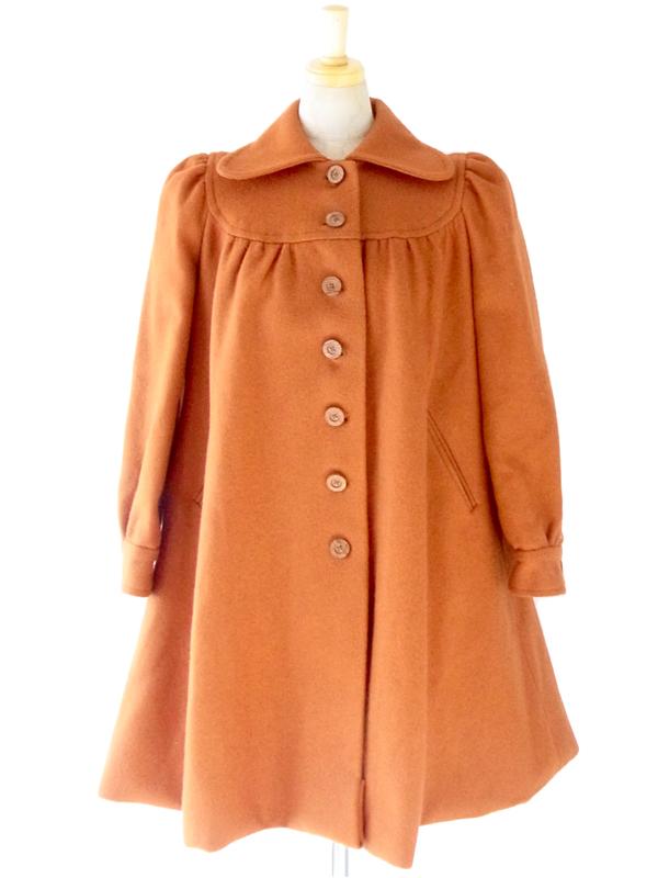 ヨーロッパ古着 フランス買い付け 60年代製 オレンジ 丸襟 パフスリーブ ヴィンテージ コート : 13FC802