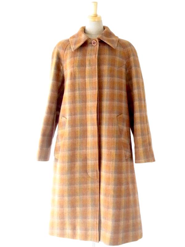 【送料無料】60年代フランス製 オレンジ ×グレイ チェック柄 ヴィンテージ ツイード コート : 13FC808【ヨーロッパ古着】
