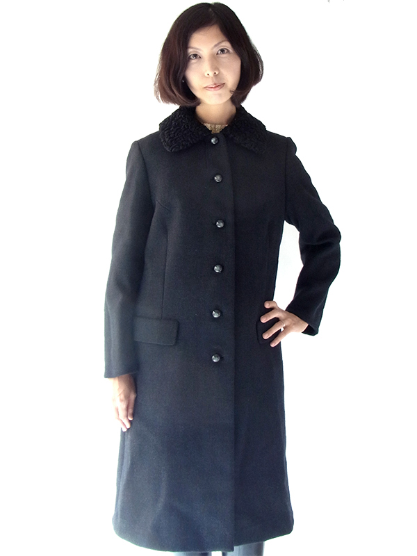 【送料無料】フランス買い付け 60年代製 ブラック X ボア襟  ヴィンテージ ウール コート: 13FC815【ヨーロッパ古着】
