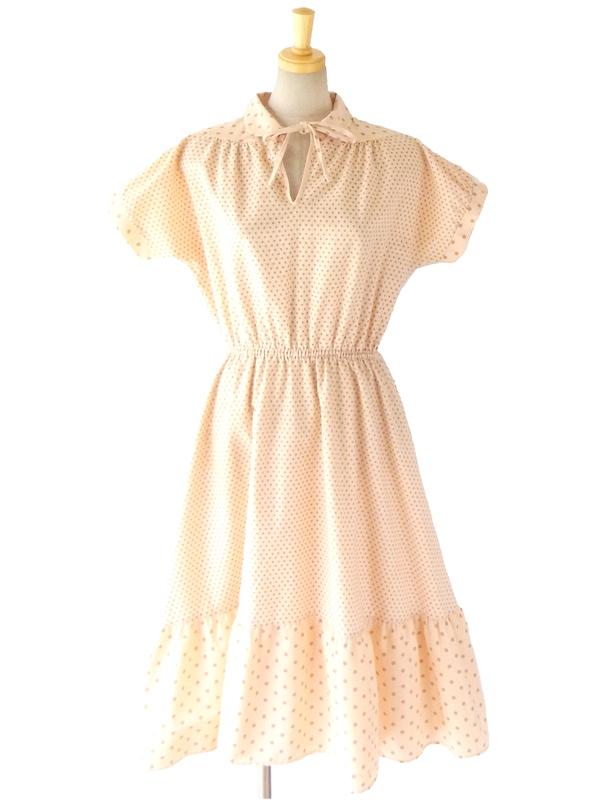 【送料無料】60年代イギリス製 St.Michael アプリコット X 濃いオレンジの水玉 かわいい丸襟のワンピース 14FC309【ヨーロッパ古着】