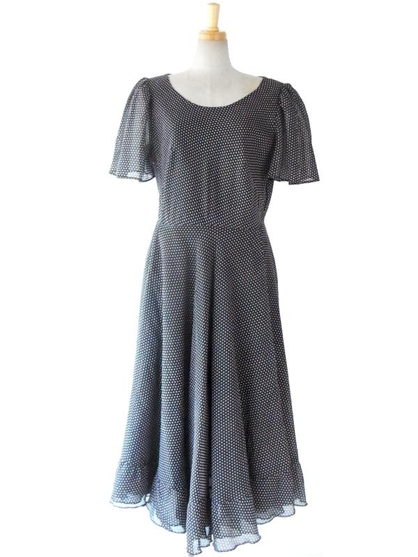 ヨーロッパ古着 フランス買い付け モノトーン X 水玉 オーガンジー エレガントシルエット ヴィンテージ ドレス 14FC317