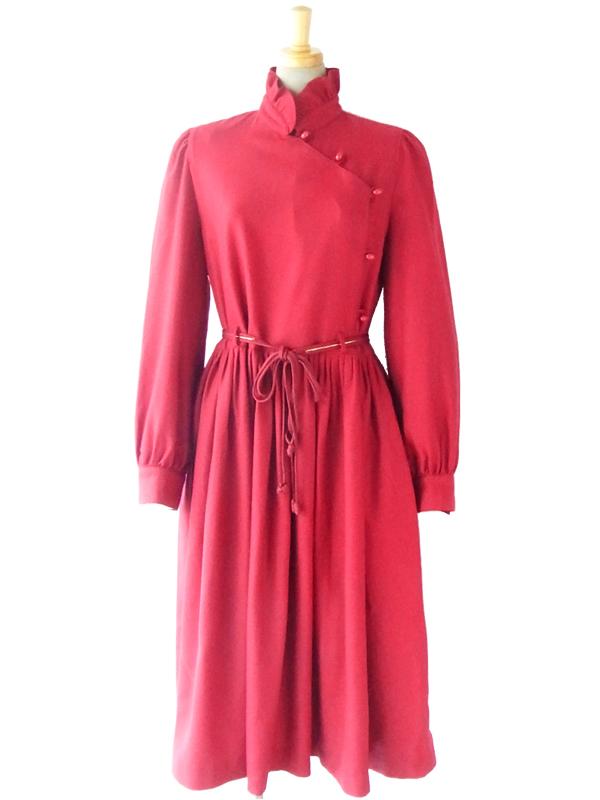 ヨーロッパ古着 フランス買い付け バーガンディー X ギャザーフリル スタンドカラー エレガントシルエット ドレス 14FC607